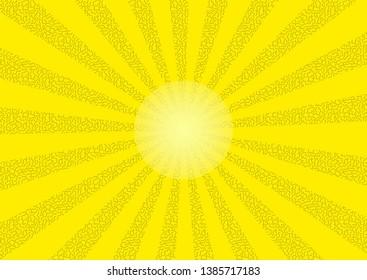 Shining sun in retro style as vector graphics