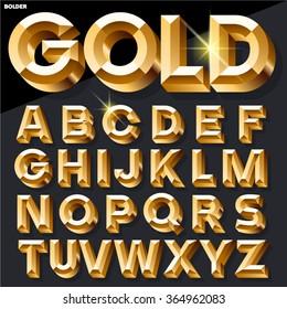 Shining vector golden alphabet in bold style. Uppercase
