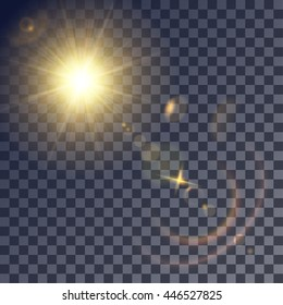 Shining vector golden sun with lens effects. Flares and gleams rounded and hexagonal shapes, colored halo.
