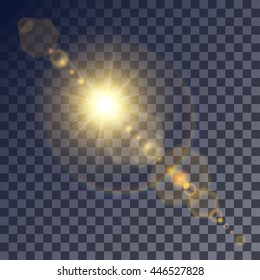 Shining vector golden sun with light effects. Flares and gleams rounded and hexagonal shapes, rainbow halo.