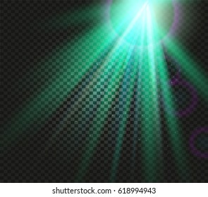Shining vector green color light effects, glowing beams on checkered background, illumination vector illustration