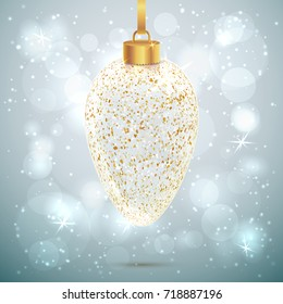 Shining vector transparent and sparkled Christmas toy on light grey background with bokeh effect