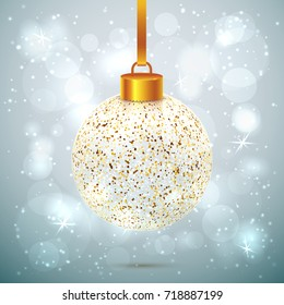 Shining vector transparent and sparkled Christmas ball on light grey background with bokeh effect