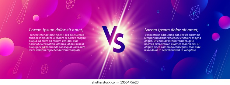 Shining versus logo on abstract background. VS template design for games, battle, match, sports or fight competition, Game concept of rivalry. VS. Vector illustration.