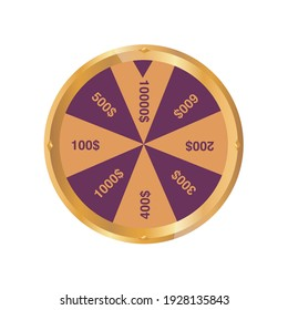 Shining wheel of fortune. Spinning lucky roulette on a dark background