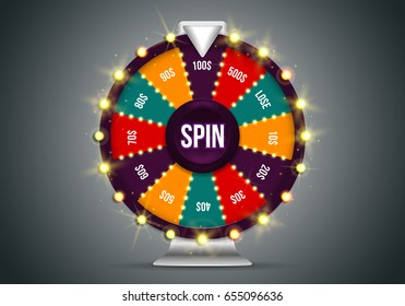 Shining wheel of fortune. Spinning lucky roulette on a dark background. Vector illustration.