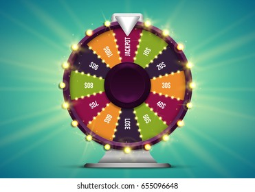 Shining wheel of fortune. Spinning lucky roulette on a bright glowing background. Vector illustration.