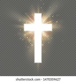 Shining white cross effect on transparent background. Shining saint cross. Riligious symbol. Easter and Christmas sign. EPS 10