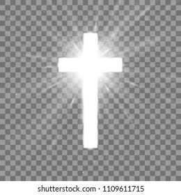 Shining white cross on transparent background. Glowing saint cross. Vector illustration. EPS 10