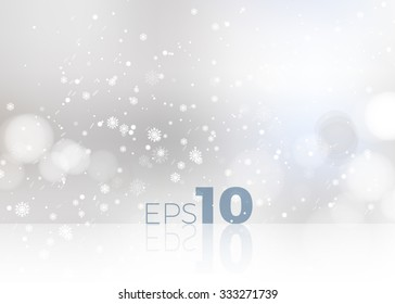 Shining white snow Blur Studio Christmas Backdrop. Vector illustration