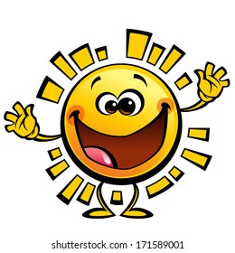 Shining yellow cute smiling sun cartoon character in happy welcome gesture