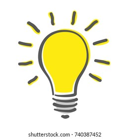 Shining yellow light bulb isolated on white background. Hand-drawn vector illustration. Creative concept of idea.