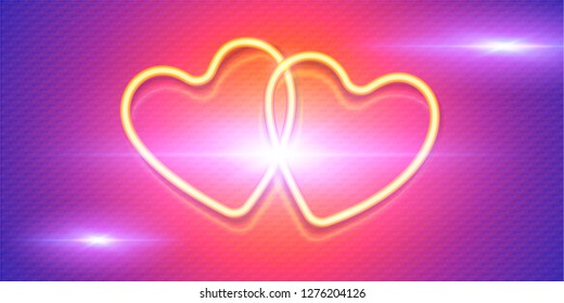 Shining yellow neon hearts on pink and violet background, vector symbols of love on Valentines day banner