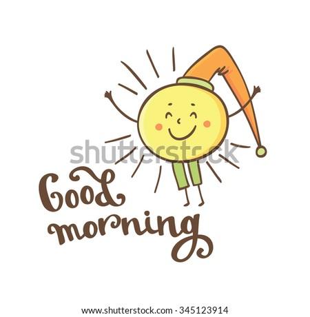 Shining Yellow Smiling Sun Cartoon Character Stock Vector Royalty