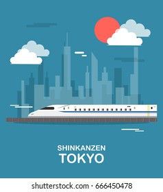 Shinkanzen sky train in tokyo illustration design