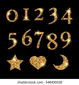 Shinning Golden Numbers and moon star heart pattern