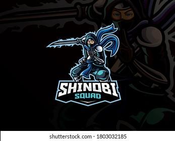 Shinobi mascot sport logo design. Vector illustration ninja mascot with katana. Shinobi warrior mascot, Emblem design for esports team. Vector logo illustration