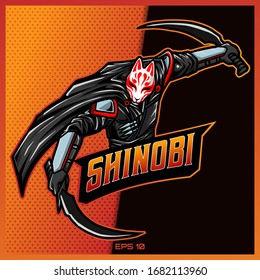 Shinobi Ninja with two sword esport and sport mascot logo design in modern illustration concept for team badge emblem and thirst printing. Ninja illustration on Gold Background. Vector illustration