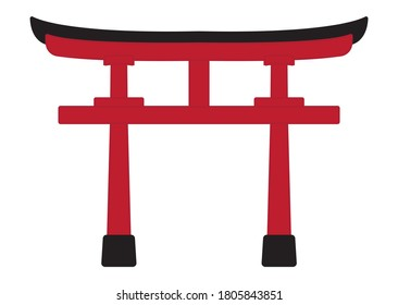 Shinto shrine gate or torii flat color icon for apps or websites