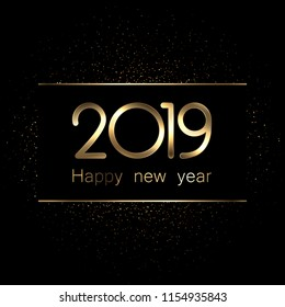Shiny 2019 Happy New Year gold and black background. Vector illustration.
