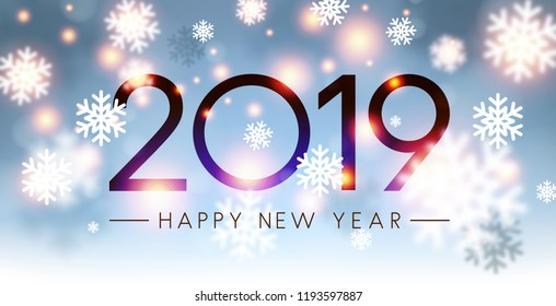 Shiny 2019 Happy New Year card with blurred snowflakes. Vector background.