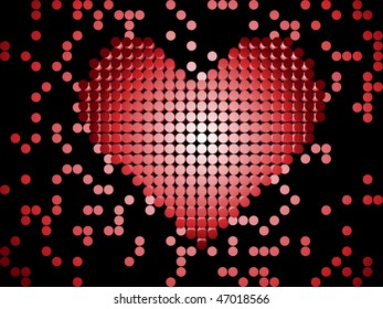 Shiny 3D Dots Red Heart. Editable Vector Image