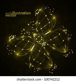 Shiny abstract butterfly, technology energy vector illustration eps10