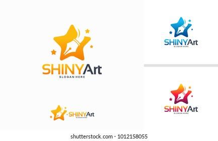 Shiny Art logo designs concept, Star Writer logo designs template