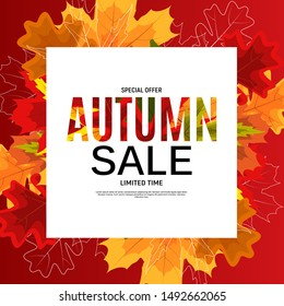 Shiny Autumn Leaves Sale Banner. Business Discount Card. Vector Illustration EPS10\n