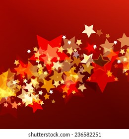 Shiny background with abstract glowing stars. Vector holiday background. Christmas or New Year greeting card, invitation.