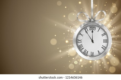 Shiny background with silver clock, hanging on silver ribbon with bow, New years invitation and greeting card. EPS 10 contains transparency.