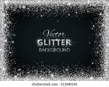 Shiny background with silver glitter frame and space for text. Vector glitter decoration, great for christmas and birthday cards, wedding invitation, party posters and flyers.