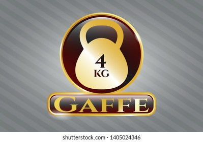 Shiny badge with 4kg kettlebell icon and Gaffe text inside