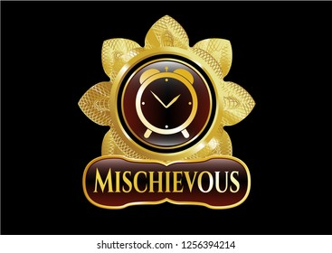 Shiny badge with alarm clock icon and Mischievous text inside