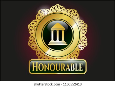 Shiny badge with bank icon and Honourable text inside