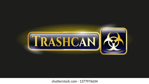 Shiny badge with biohazard icon and Trashcan text inside