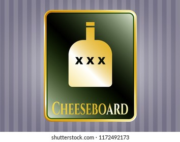 Shiny badge with bottle of alcohol icon and Cheeseboard text inside