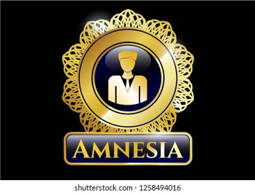 Shiny badge with businessman icon and Amnesia text inside