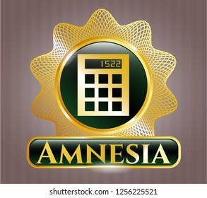 Shiny badge with calculator icon and Amnesia text inside