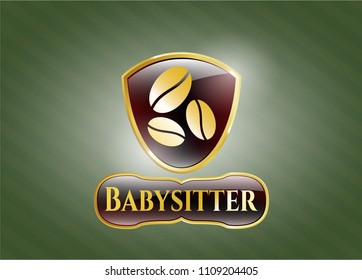 Shiny badge with coffee bean icon and Babysitter text inside