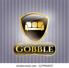 Shiny badge with couch icon and Gobble text inside
