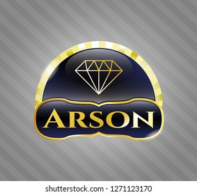 Shiny badge with diamond icon and Arson text inside