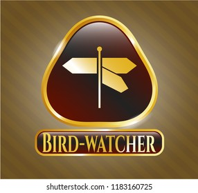 Shiny badge with directions sign icon and Bird-watcher text inside