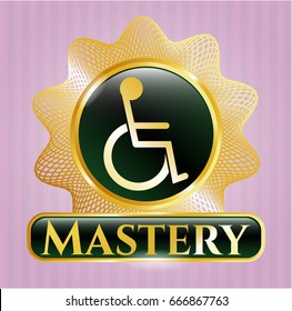 Shiny badge with Disabled (Wheelchair) icon and Mastery text inside