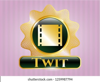 Shiny badge with film icon and Twit text inside