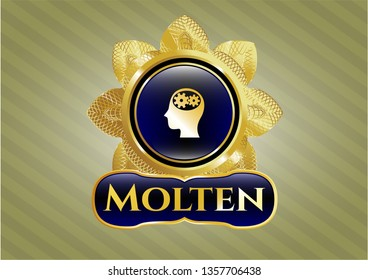 Shiny badge with head with gears inside icon and Molten text inside