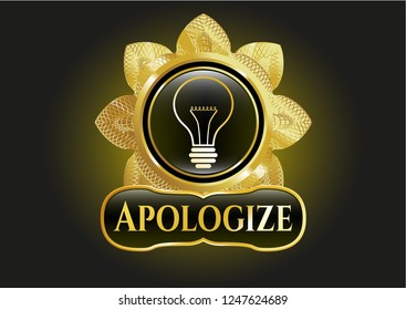 Shiny badge with idea icon and Apologize text inside
