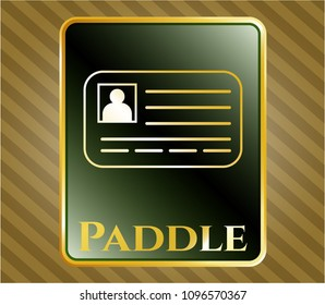 Shiny badge with identification card icon and Paddle text inside