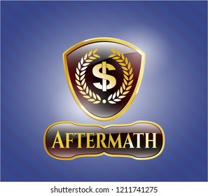 Shiny badge with laurel wreath with money symbol inside icon and Aftermath text inside