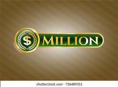 Shiny badge with laurel wreath with money symbol inside icon and Million text inside